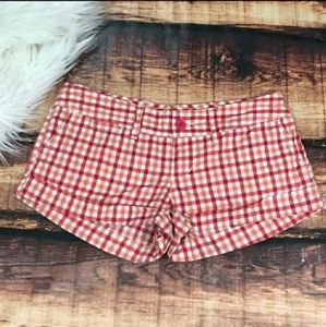 American Eagle Red Plaid Checkered Shorts